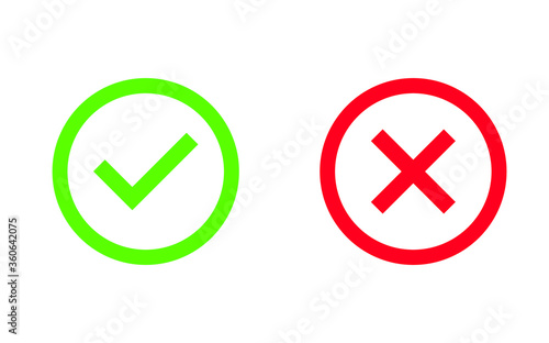 Fototapety, obrazy: Check mark and cross or x icon in flat style. Yes no symbol for computer website, app, logo in vector format