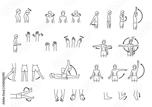 Canvas human body range of motion, body movement icon set