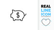 Editable line icon of a piggy bank with a dollar sign