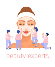 The Beauty Expert Team Applies A Cosmetic Mask To The Woman's Face. Vector Illustration In Flat Style Isolated On White Background. Concept On The Topic Of Personal Care, Beauty Salons And Treatments.