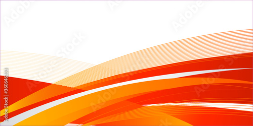 Obraz Orange white wave abstract presentation background.  Hi-tech orange shapes abstract vector background.  Abstract orange waves - data stream concept. - fototapety do salonu