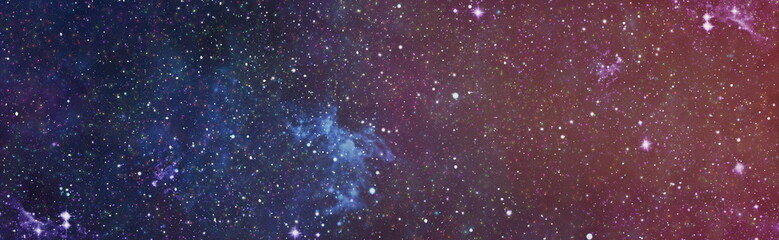 Deep Space with Cosmic Clouds Stars and Planets background - panorama of dark outer space scene