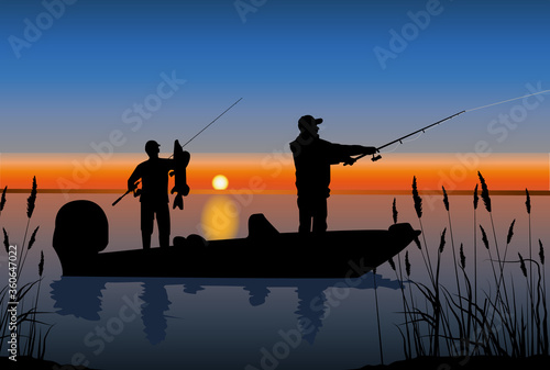 two lucky fishermen on a morning fishing spinning from a boat on a lake Canvas Print