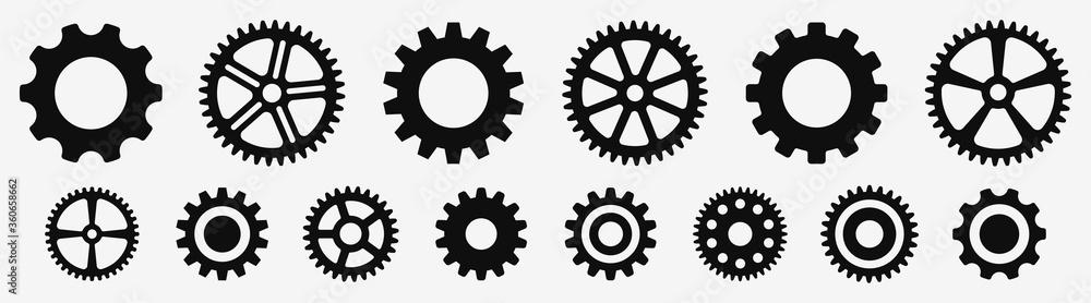 Fototapeta Gear wheel icon set. Simple Gear wheel collection. Cogwheel. Gear icons. Vector