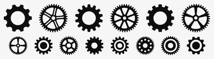 Gear wheel icon set. Simple Gear wheel collection. Cogwheel. Gear icons. Vector