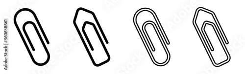 Paper clip icons set on white background Canvas Print