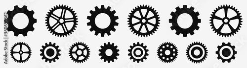Fotografie, Tablou Gear wheel icon set