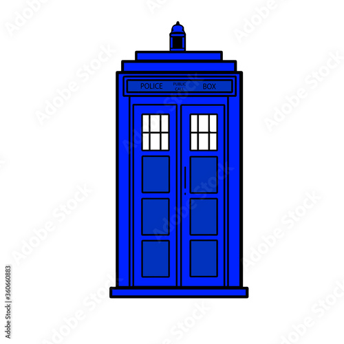 Photo vector illustration blue police call box isolated