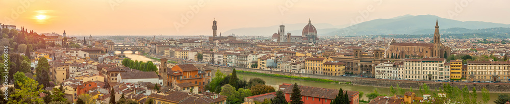 Fototapeta Florence city downtown skyline cityscape of  Italy
