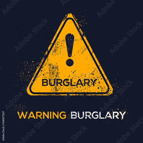 Warning sign (burglary), vector illustration. Canvas Print
