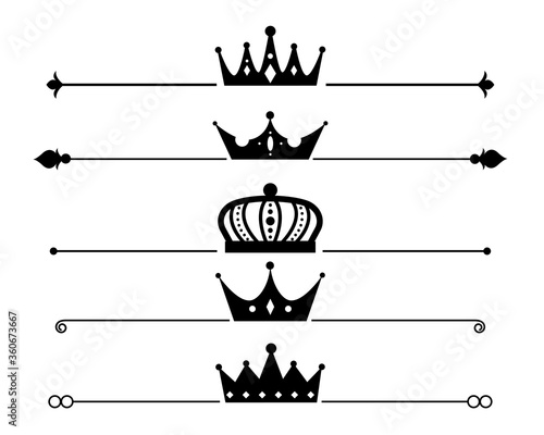 Fotografia, Obraz set of crown separator or border design