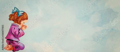 Photo Praying little girl. Watercolor christian banner