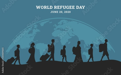 Valokuvatapetti World refugee day background with muslim people walking seek for home
