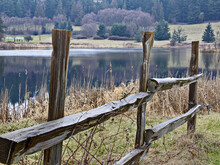 This Nature Landscape Is A Wet, Wood Split Rail Fence Near A Small Lake With Evergreen Trees In The Background.  Taken On Orcas Island, Washington.