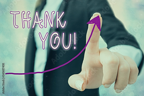 Writing note showing Thank You Canvas Print
