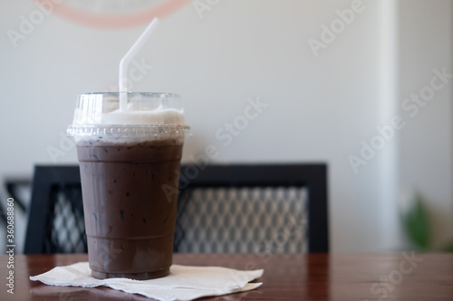 Fototapeta Delicious cold refreshing coffee mocha mix dark chocolate