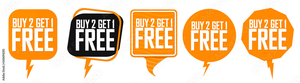 Fototapeta Buy 2 Get 1 Free, Set Sale speech bubble banners design template, discount tags collection, great offer, vector illustration