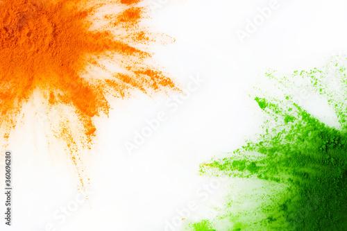 Orange and green color powder splash Canvas Print