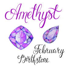 February Birthstone Amethyst Crystals Isolated On White Background. Close Up Illustration Of Gems Drawn By Hand With Colored Pencils. Realistic Faceted Stones.