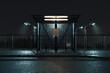 Leinwanddruck Bild - beleuchtete Bushaltestelle bei Nacht. 3D Rendering