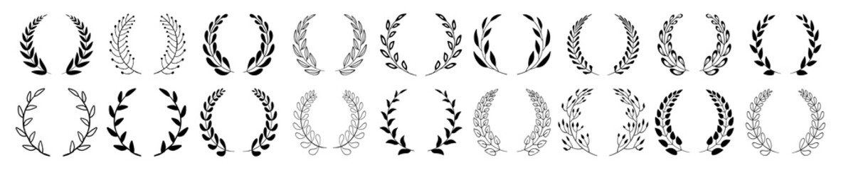 Set of black circular foliate laurels branches. Vintage laurel wreaths collection. Hand drawn vector laurel leaves decorative elements. Leaves, swirls, ornate, award, icon. Vector illustration.