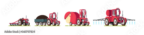 Photo A set of agricultural equipment. Tractors. Vector illustration.