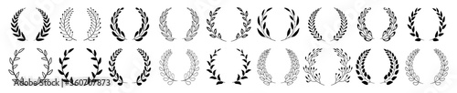 Set of black circular foliate laurels branches Fototapeta