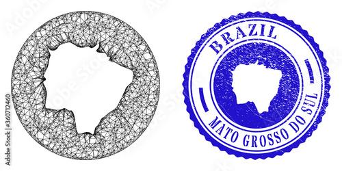 Fotografia, Obraz Mesh hole round Mato Grosso do Sul State map and grunge seal stamp