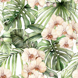 Watercolor seamless pattern with jungle palm leaves and orchids. Hand painted exotic flowers and leaves isolated on white background. Floral tropical illustration for design, fabric or background. - 360714094