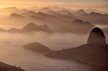Elevated View Of The Guanabara Bay And Of Serra Do Mar (Sea Mountains), In Rio De Janeiro City, Before Of The Sunrise