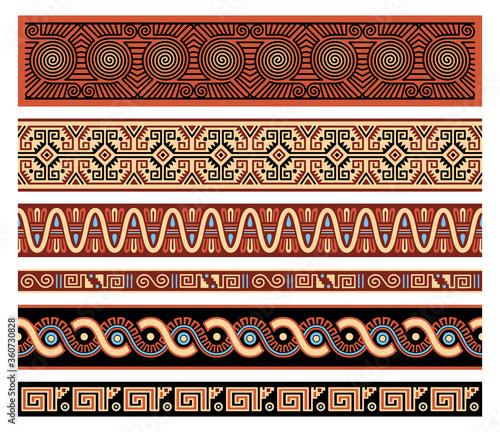 Cuadros en Lienzo Traditional Native American Aztec Seamless Vector Borders Patterns Set