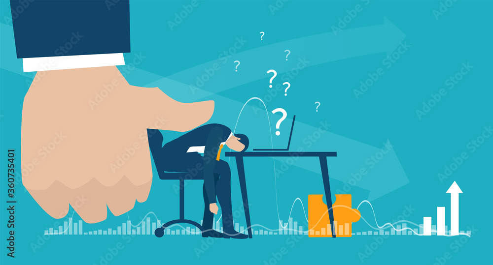 Fototapeta Businessman working late hours under the pressure and stress. Financial and economical crisis, dead line, problems and tiredness. Modern flat design business concept illustration