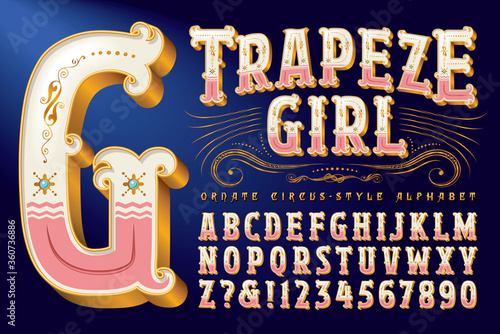 An Ornate Circus Style Alphabet with Metallic Gold Accents and Detailed Flourish Slika na platnu