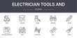 electrician tools and concept line icons set. contains icons usable for web, logo, ui/ux such as stapler, tool belt, electrician service, alligator, fuse, pliers, tester, crane