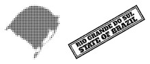 Halftone Map Of Rio Grande Do Sul State, And Grunge Seal. Halftone Map Of Rio Grande Do Sul State Designed With Small Black Circle Elements. Vector Imprint With Grunge Style, Double Framed Rectangle,