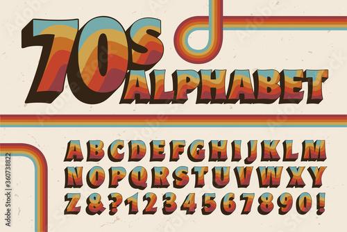 Photo A 1970s-style Alphabet with Wavy Rainbow Stripe Embellishments