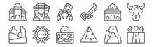 12 Set Of Linear Desert Icons....