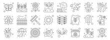 Spring Line Icons. Linear Set. Quality Vector Line Set Such As Flower, Calendar, Snail, Grass Leaves, Ice Cream, Rake, Garden, Park, Growing Plant