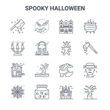 Set Of 16 Spooky Halloween Concept Vector Line Icons. 64x64 Thin Stroke Icons Such As Bats, Candle, Axe, Halloween, Eye Jar, Dead Tree, Haunted House, Voodoo Doll, Cauldron