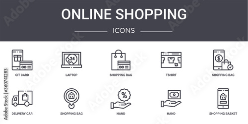 Fototapeta online shopping concept line icons set. contains icons usable for web, logo, ui/ux such as laptop, tshirt, delivery car, hand, hand, shopping basket, shopping bag, bag obraz na płótnie