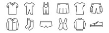 12 Set Of Linear Wardrobe Icon...