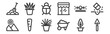 12 set of linear landscaping equipment icons. thin outline icons such as trowel, wheelbarrow, carrot, sprinkler, bug, plant for web, mobile.