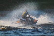 View Of Jet Ski In Motion, Gro...