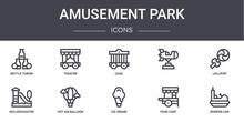 Amusement Park Concept Line Ic...