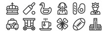 12 Set Of Linear England Icons...