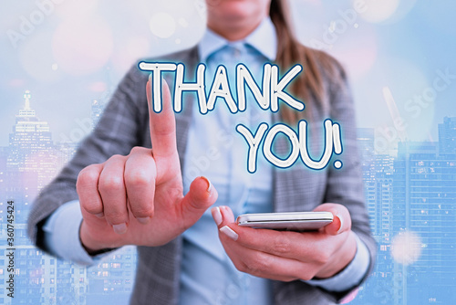 Handwriting text writing Thank You Wallpaper Mural
