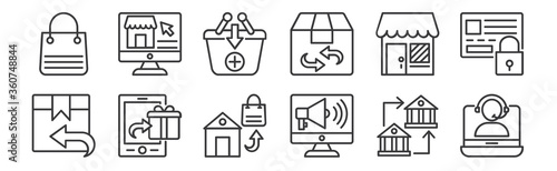 Photographie 12 set of linear shopping line icons icons