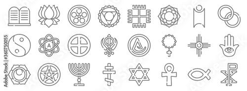 Photo spiritual symbols line icons