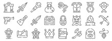 Videogame Elements Line Icons....