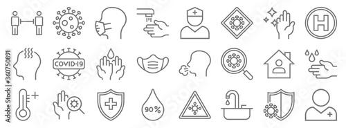 Fototapeta pandemic novel virus line icons